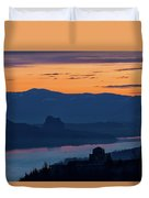 Crown Point And Beacon Rock At Dawn Duvet Cover