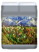Crows Flying Over Tulips Duvet Cover