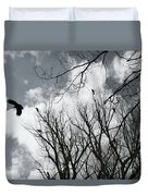 Crows In Cottonwoods Duvet Cover