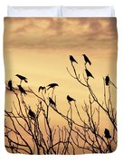 Crows In Their Twitter Cloud. Duvet Cover