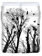 Crows Roost 1 - Black And White Duvet Cover
