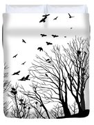 Crows Roost 2 - Black And White Duvet Cover