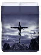 Crucifixion On The Mountain Duvet Cover