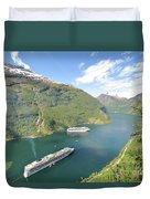 Cruise In Geiranger Fjord Norway Duvet Cover