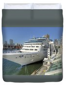 Cruise Ship At Canada Place Duvet Cover