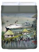 Sitting In The Dock Of The Bay, Kingstown, St Vincent  Duvet Cover