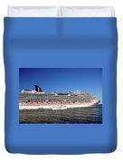 Cruise Ship Is Leaving The Port Duvet Cover