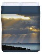 Cruise Ship Passing An Island As Sunrays Shine Through Clouds Duvet Cover
