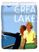 Cruise The Great Lakes Vintage Travel Poster Duvet Cover