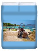Crushed Tractor By The Sea On Island Prvic Duvet Cover