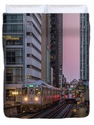 Cta Train On The L At Dusk Chicago Illinois Duvet Cover