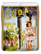 Cuba Holiday Isle Of The Tropics Vintage Poster Duvet Cover