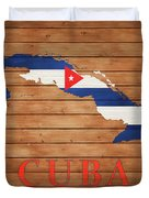 Cuba Rustic Map On Wood Duvet Cover