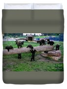 Cubs At The Playground Duvet Cover