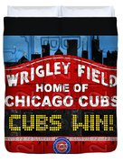 Cubs Win Wrigley Field Chicago Illinois Recycled Vintage License Plate Baseball Team Art Duvet Cover