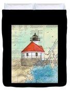 Cuckolds Lighthouse Me Nautical Chart Map Duvet Cover
