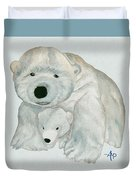 Cuddly Polar Bear Watercolor Duvet Cover