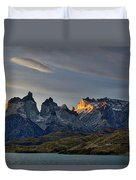 Cuernos Sunset Begins #4 - Patagonia Duvet Cover