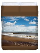 Cumulus Clouds Passing Across The Beach At Skegness Lincolnshire England Duvet Cover