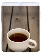 Cup Of Black Coffee On Bare Table Duvet Cover