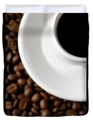 Cup Of Black Coffee On Coffee Beans Duvet Cover