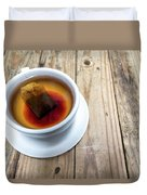 Cup Of Hot Tea On Wood Table Duvet Cover