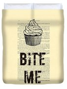 Cupcake Bite Me Typography Duvet Cover by Madame Memento
