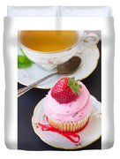 Cupcake With Strawberry Duvet Cover