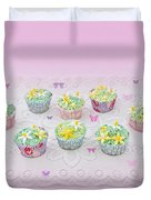 Cupcakes And Butterflies Duvet Cover