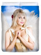 Cupid Angel Of Love Flying High With Fairy Wings Duvet Cover