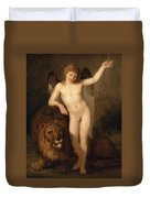 Cupid With A Lion Duvet Cover
