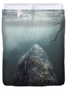 Curious Gray Whale And Tourist Duvet Cover