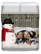 Curious Piglets And Snowman Duvet Cover
