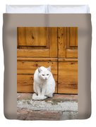 Curious White Cat  Duvet Cover