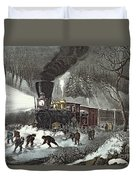 Currier And Ives Duvet Cover