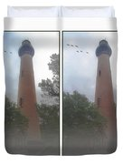 Currituck Beach Light Station - 3d Stereo Crossview Duvet Cover