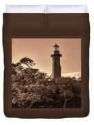 Currituck Beach Lighthouse - Sepia Duvet Cover