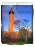 Currituck Lighthouse In Winter Outer Banks Ap Duvet Cover
