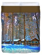 Curry Cabins Christmas Day Duvet Cover