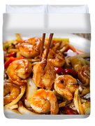 Curry Shrimp And Peppers On White Serving Plate Ready To Eat Duvet Cover