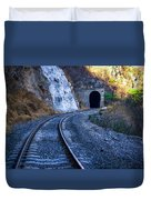 Curves On The Railways At The Entrance Of The Tunnel Duvet Cover