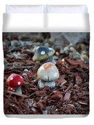 Cluster Of Toadstools  In Fairy Garden Duvet Cover