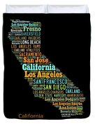 Custom Silhouette Art Print, Pop Art California Map, Modern Style Country Map, Country Maps For Home Duvet Cover