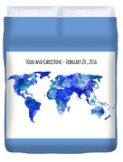 Custom World Map Duvet Cover