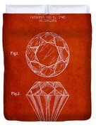 Cut Diamond Patent From 1873 - Red Duvet Cover