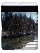 Cut River In Winter With Ducks Duvet Cover