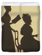 Cut Silhouette Of Two Women Facing Right 1837 Duvet Cover