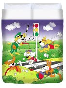 Cute Animals Crossing The Street Duvet Cover