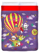 Cute Animals In Air Balloon Duvet Cover