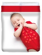 Cute Baby Boy Yawning Duvet Cover